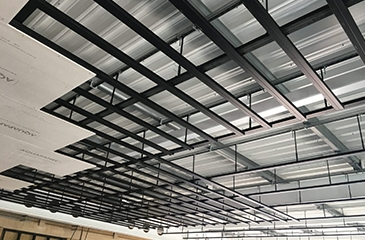 Metal profiles with rigid structures and false ceilings and retaining walls or gypsum panels (Plasterboards) and PVC panels
